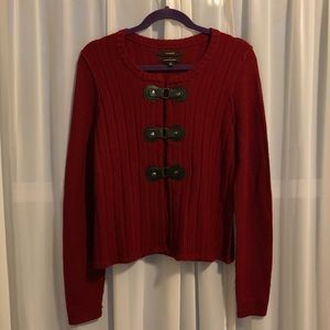 Tahari Merino Wool Blend Buckle Cardigan Red